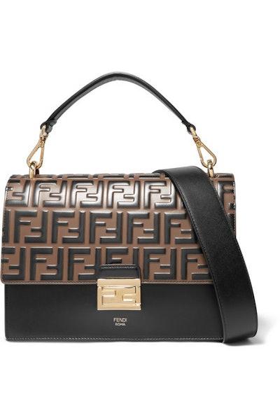 Kan I Large Embossed Leather Shoulder Bag