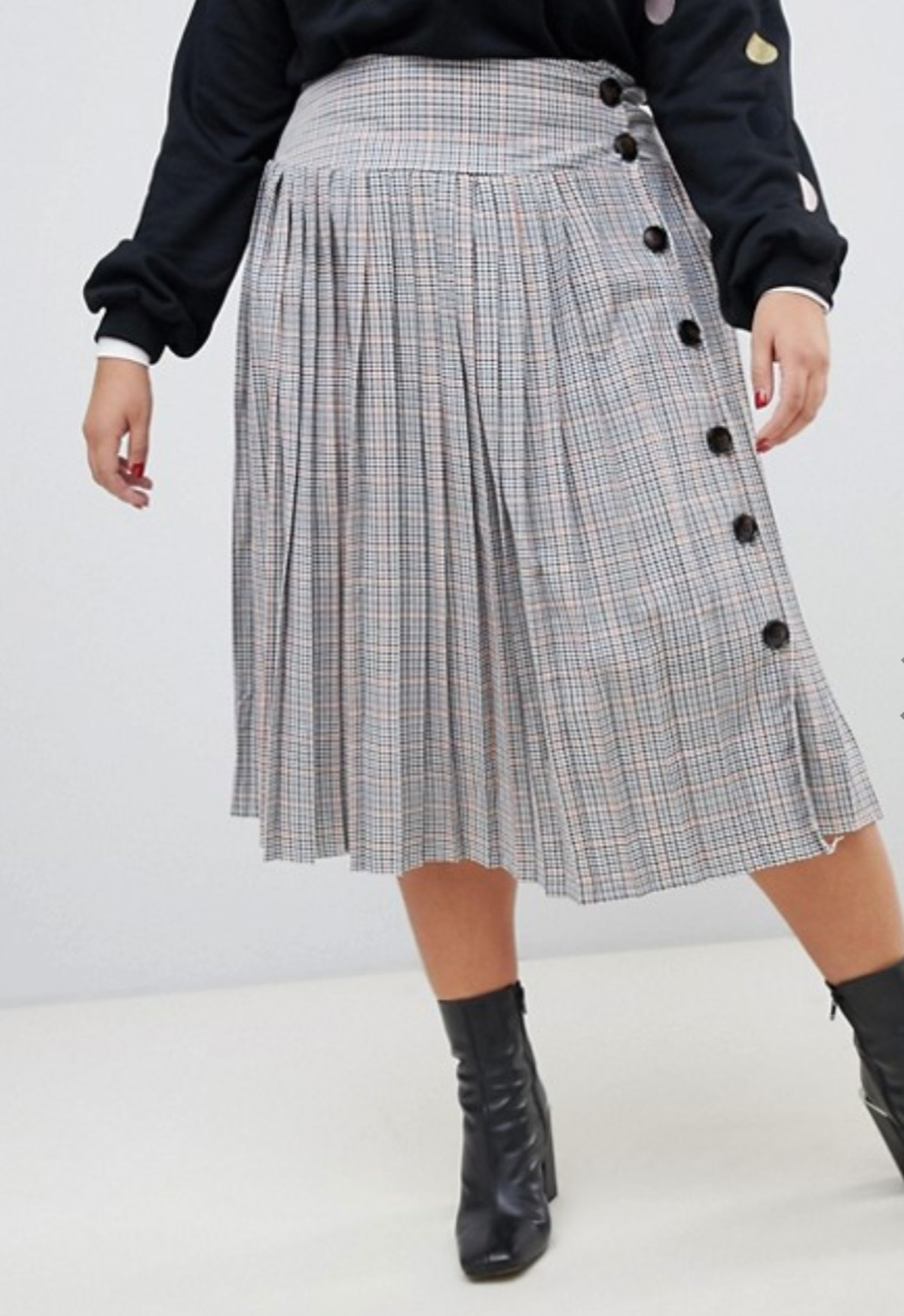 Neon Rose Plus pleated midi skirt with button side in check