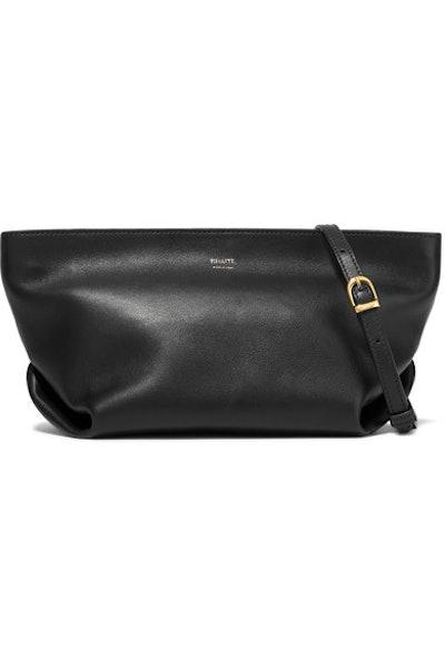 Envelope Pleat Leather Shoulder Bag