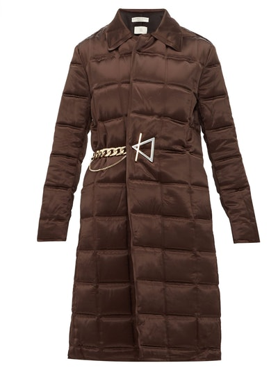 Chain-Embellished Quilted-Satin Coat