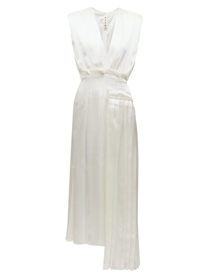 Asymmetric Pleated Satin Dress