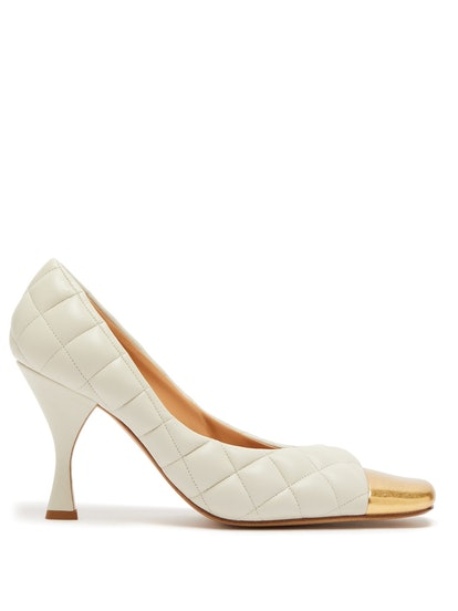 Square Toe Cap Quilted-Leather Pumps