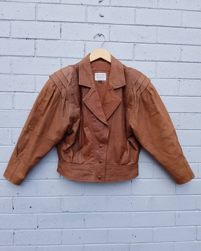 80s Pleated Leather Bomber