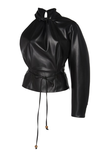 Elodia One-Shoulder Faux Leather Top