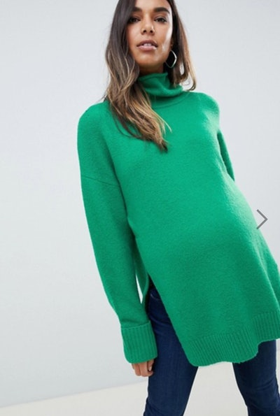 Maternity Nursing chunky sweater in oversize with high neck
