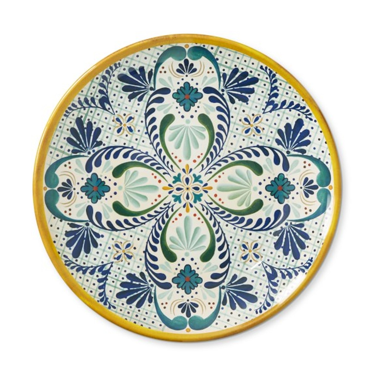 Veracruz Outdoor Melamine Dinner Plates, Yellow (set of 4)