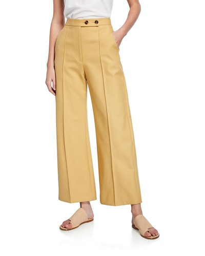 Yasmin Seamed Gabardine Wide-Leg Pants