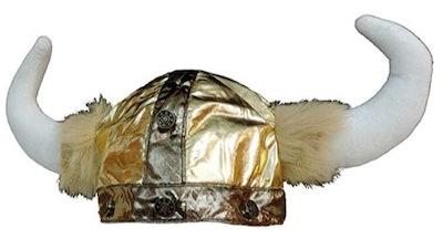 Plush Gold Viking Warrior Hat Cap