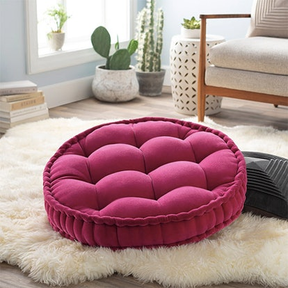 Georgia Round Tufted Velvet Floor Pillow