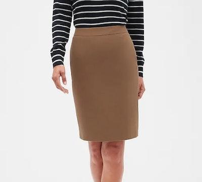 Machine Washable Camel Pencil Skirt