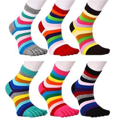 Fasot Women's Toe Socks (6-Pack)