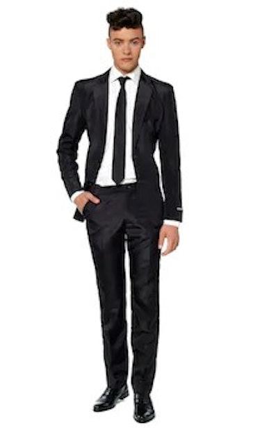 Men's Suitmeister Slim-Fit Solid Black Suit & Tie Set