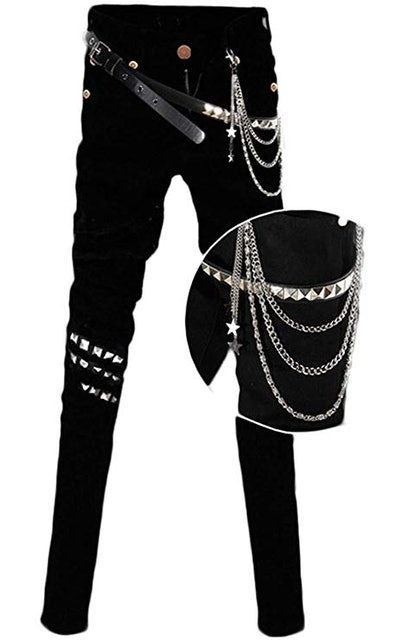 Staringirl Mens Punk Pants With Chain