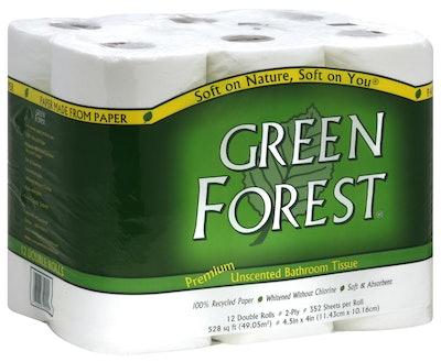 Green Forest Premium Unscented Bathroom Tissue (12 Rolls, 4-Pack)