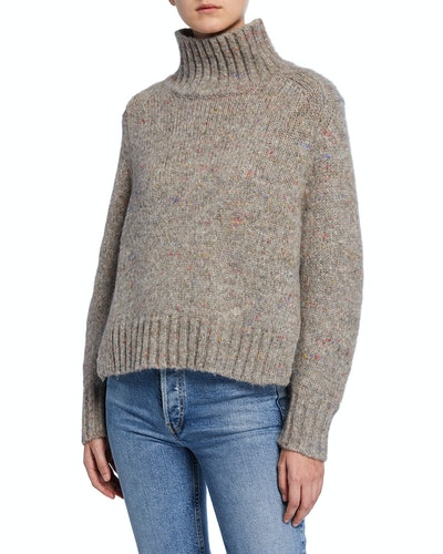 Alpaca Melange Turtleneck Sweater