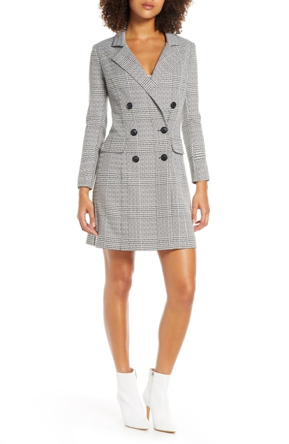Plaid Long Sleeve Blazer Dress
