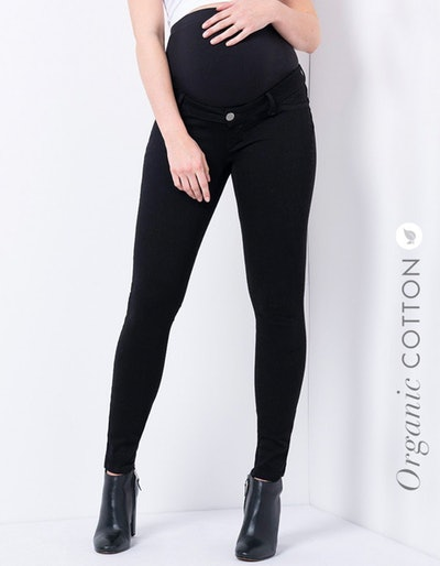 Organic Cotton Over The Bump Black Maternity Jeans