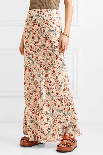 Floral-Print Crepe de Chine Maxi Skirt