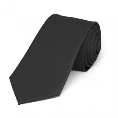 Black Slim Solid Color Neck Tie
