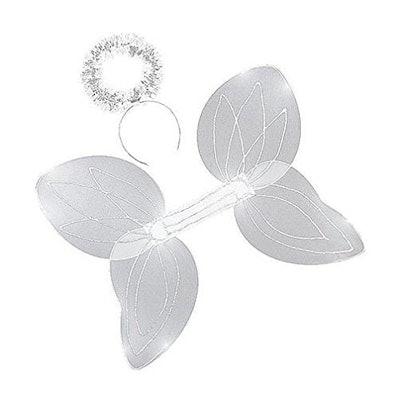 White Sparkle Angel Wings & Halo Headband