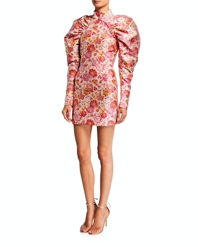 Number 1 Puff-Sleeve Jacquard Mini Dress