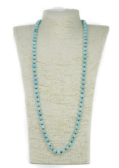 Lovely Bead Handmade Double Knotted Light Blue Turquoise Long Necklace