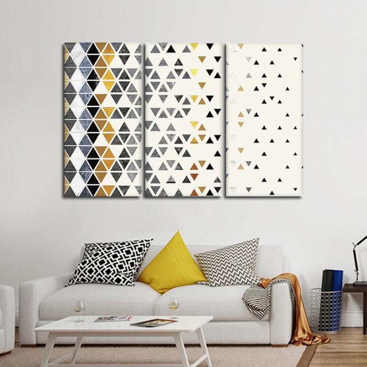 Triangle Madness Multi Panel Canvas Wall Art