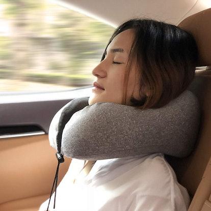 MLVOC Memory Foam Travel Pillow with Earplugs and Sleep Mask