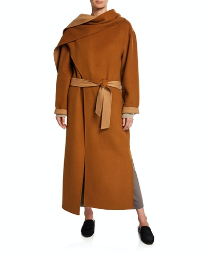 Double-Faced Belted Wool Coat