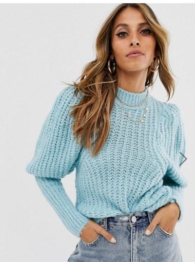 Chunky rib balloon sleeve sweater in lofty yarn