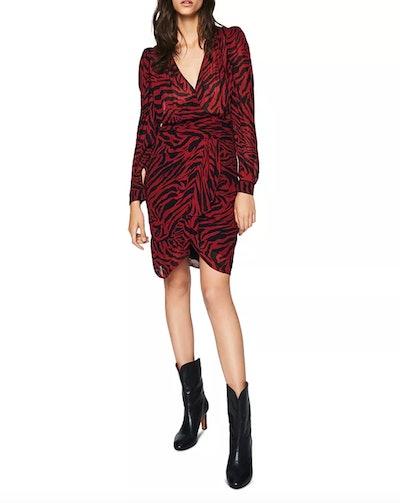 Saphir Puff-Shoulder Zebra Print Dress