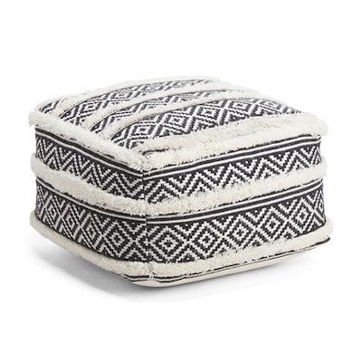 Tufted Stripe Wool Blend Pouf
