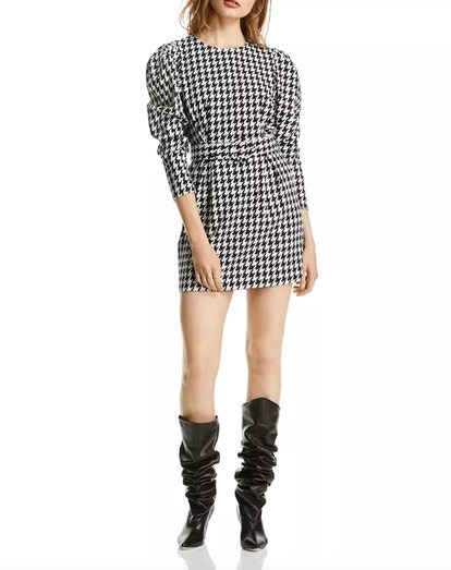 Riley Puff-Sleeve Houndstooth Dress