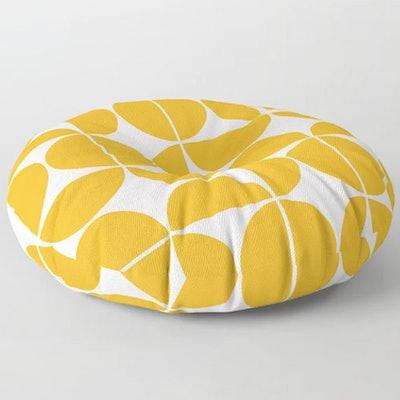 Mid Century Modern Geometric Yellow Floor Pillow