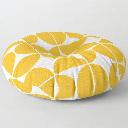 Mid Century Modern Geometric Yellow Floor Pillow