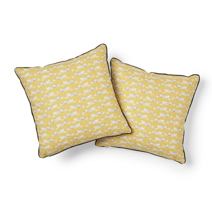 Schumacher Leaping Leopards Pillow in Yellow (sold separately)