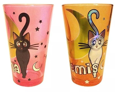 Just Funky Sailor Moon Artemis & Luna 16oz Pint Glass Set of 2