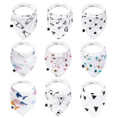 Baby Bandana Drool Bibs for Teething and Drooling (9 Pcs/Pack)