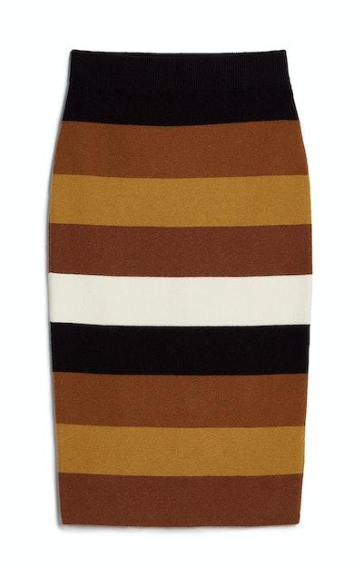 High Waisted Striped Sweater Pencil Skirt