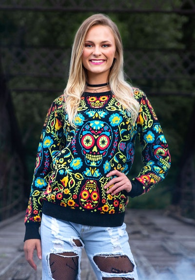 Sugar Skull Halloween Adult Sweater
