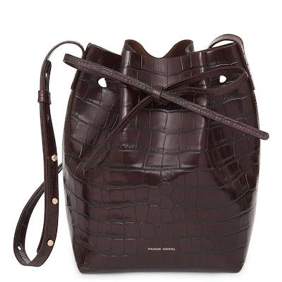 Croc Embossed Mini Bucket Bag