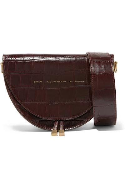 Medium Glossed Croc-Effect Shoulder Bag