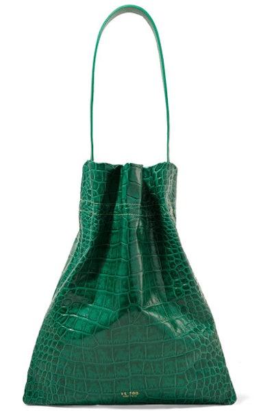 Fazzoletto Croc-Effect Leather Shoulder Bag