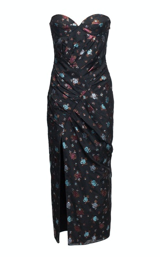 Ruched Jacquard Dress