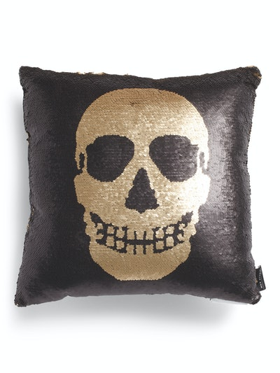 Reverse Sequin Skull Pillow