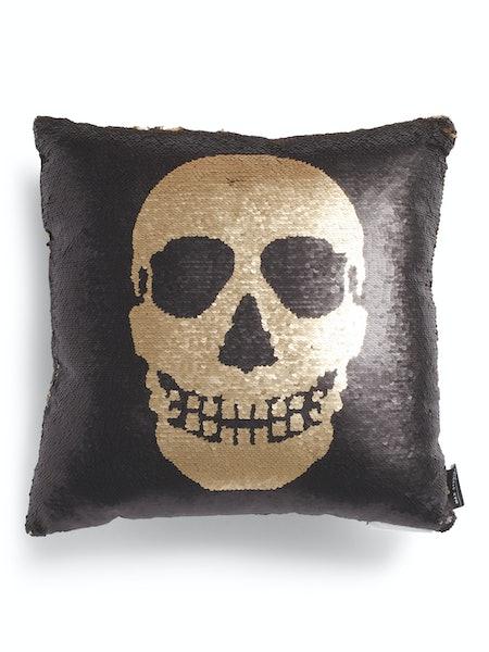Reverse Sequin Skull Pillow