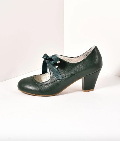 Vintage Style Emerald Green Leatherette Mary Jane Bow Wiggle Heels