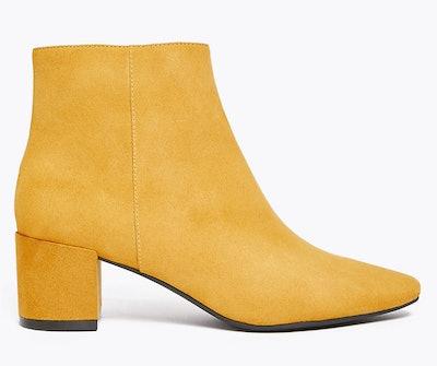 Block Heel Almond Toe Ankle Boots