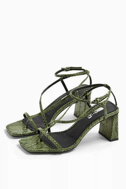 Nico Leather Green Set Back Heels