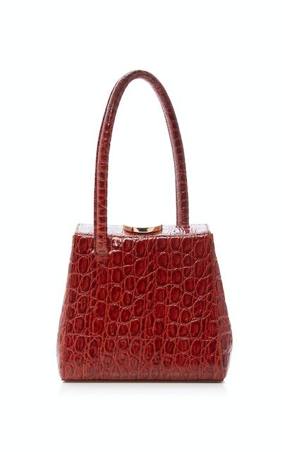 Mademoiselle Croc Embossed Leather Bag